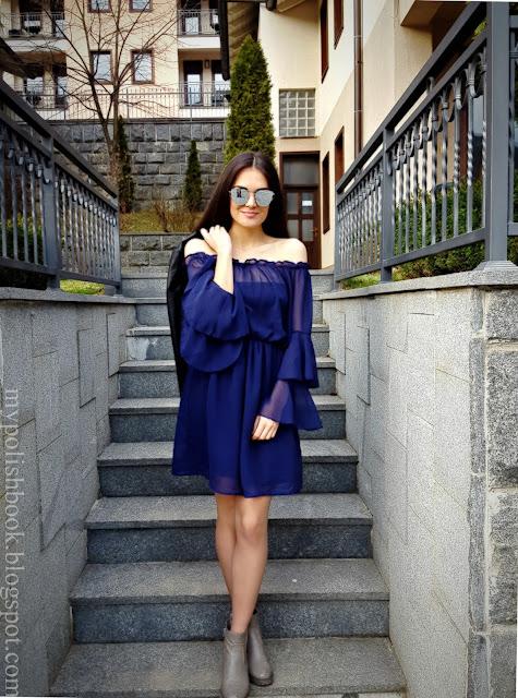 zaful spring blue dress