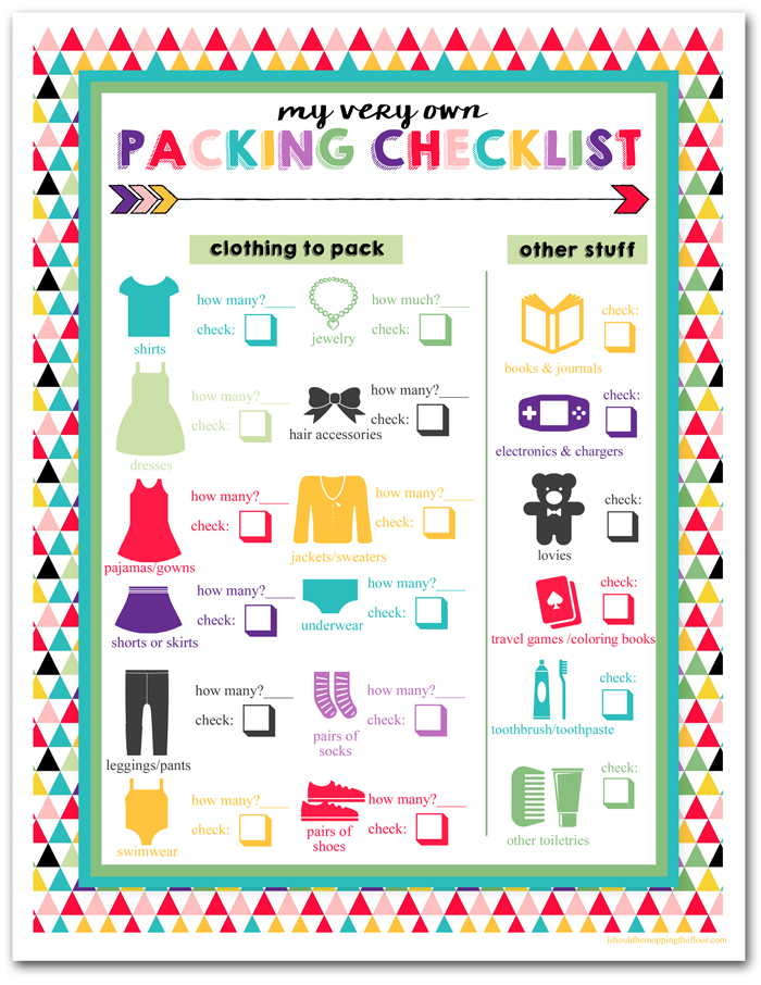 i should be mopping the floor Free Printable Children\u0027s Travel - packing list
