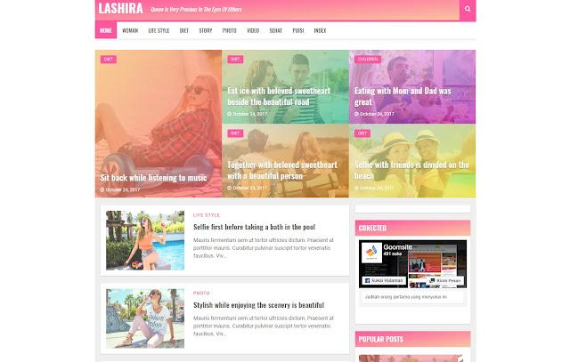 Lashira Responsive Personal Blog Magazine Blogger Template Theme