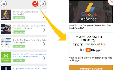 Pop up Trending Posts Widget For Blogger Mobile Site - 101Helper