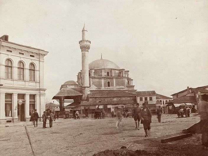 Banya Bashi Mosque and minaret in Sofia, Bulgaria, unknown photographer, c. 1890. The mosque was built in 1576.