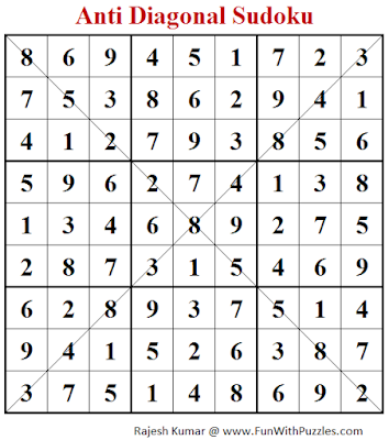 Anti Diagonal Sudoku (Fun With Sudoku #246) Puzzle Answer