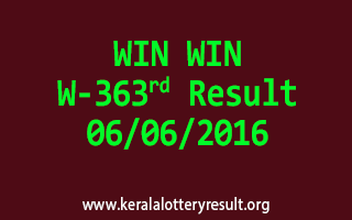 WIN WIN Lottery W 363 Results 6-6-2016