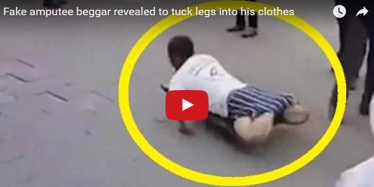 [Video] Pengemis ini ketahuan pura-pura kakinya buntung