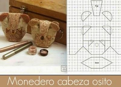 Monedero-Neceser Cabeza Osito plantilla