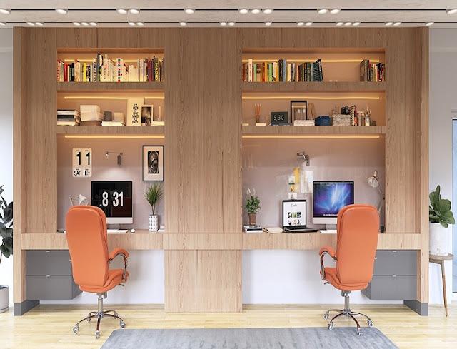 best custom double workstation home office desk design with bookshelves ideas