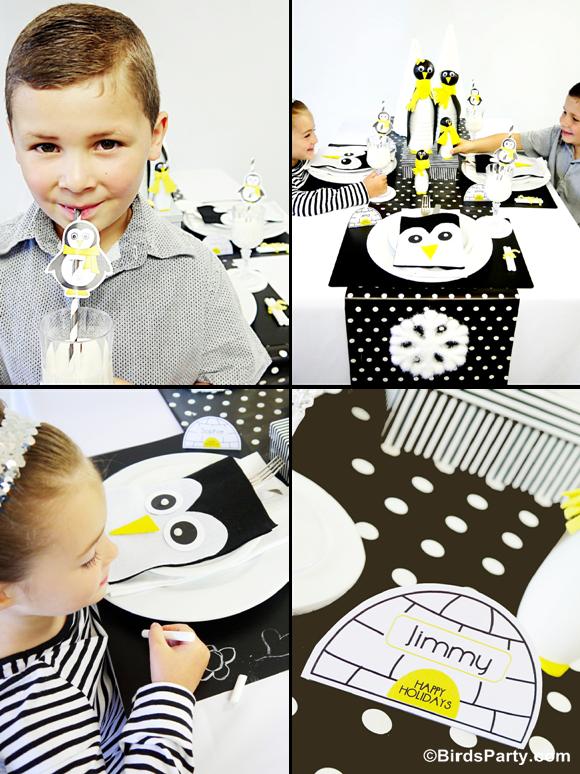 Table de Noël Moderne Pingouins en Noir & Blanc | BirdsParty.fr