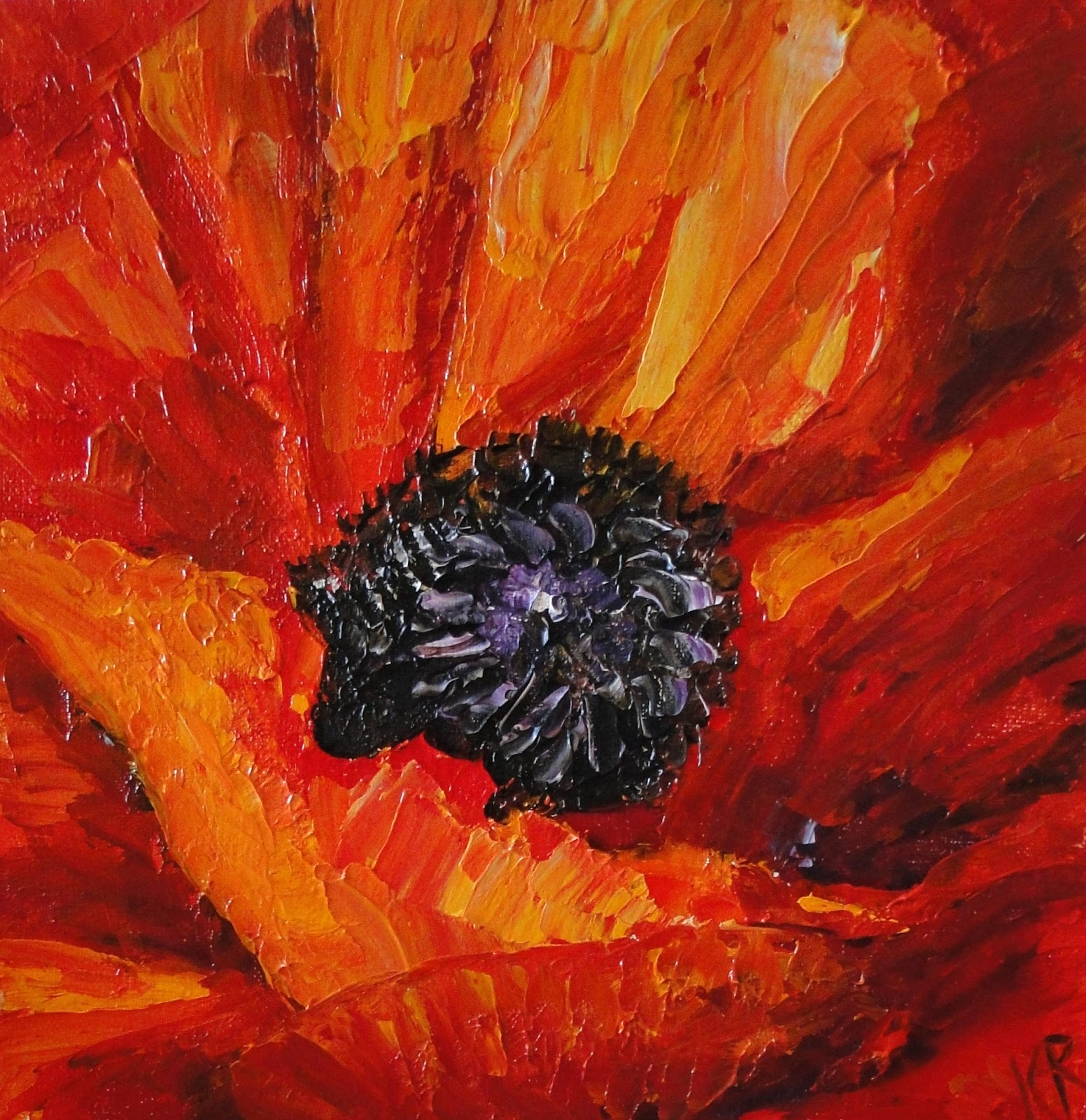 palette knife oil painting of a poppy for Remembrance Day