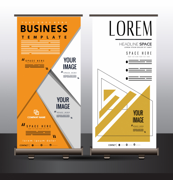 Business poster standee roll up design geometric decor Free vector