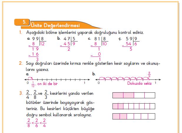 3. Sınıf Berkay Yayınları Matematik Ders Kitabı 202.Sayfa Cevapları 5. Ünite Değerlendirmesi