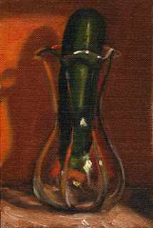 Oil painting of a zucchini in a tulip-shaped glass vase.