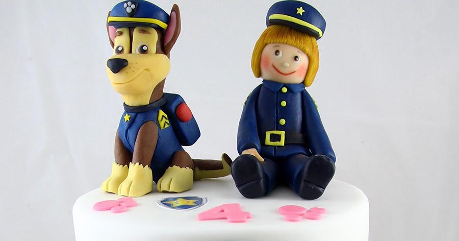 Torta Paw Patrol a due piani con Chase in pasta di zucchero tridimensionale e Tessa