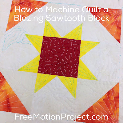 Machine quilting patchwork block