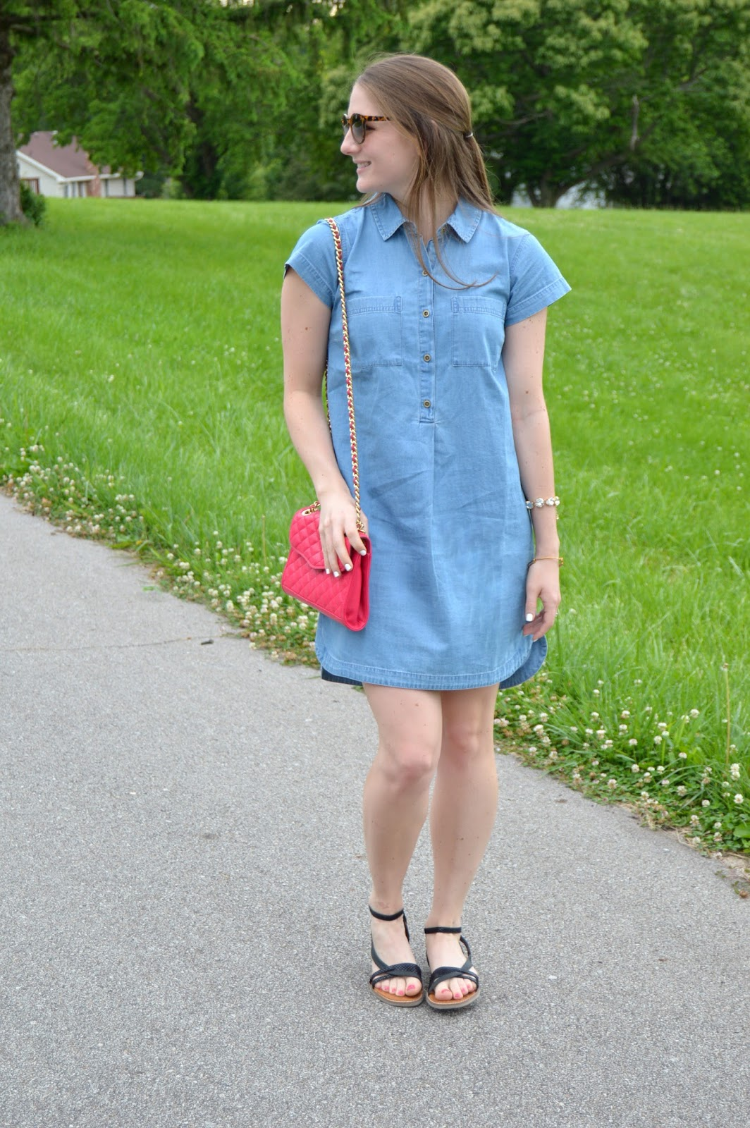 chambray shirt dress | light wash chambray shirt dress | how to style a chambray shirt dress | what to wear with a chambray shirt dress | how to rock the chambray trend | a memory of us  | summer style | summer outfit ideas