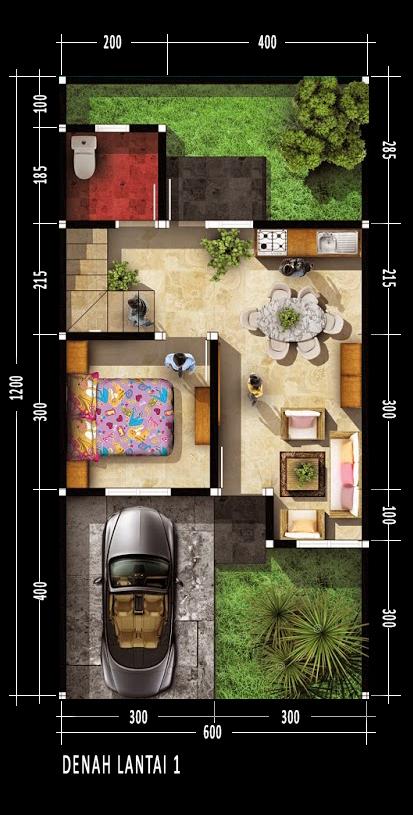 Denah rumah dua lantai dengan luas 70m2