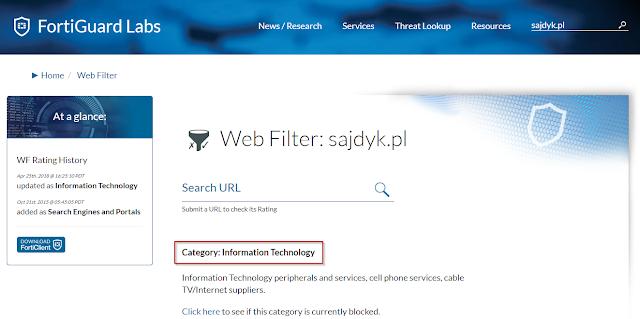 Blog sajdyk.pl zakwalifikowany został do kategorii Information Technology, czyli nie stanowi zagrożenia
