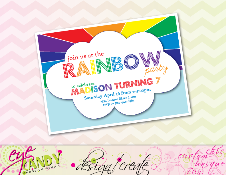 rainbow party invite, birthday party invite, join us for a rainbow party, kids birthday idea