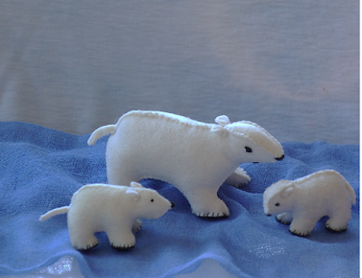 Waldorf nature table winter polar bears