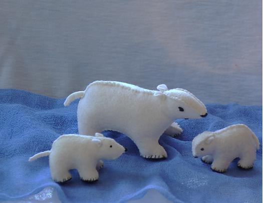 Waldorf nature table winter polar bears