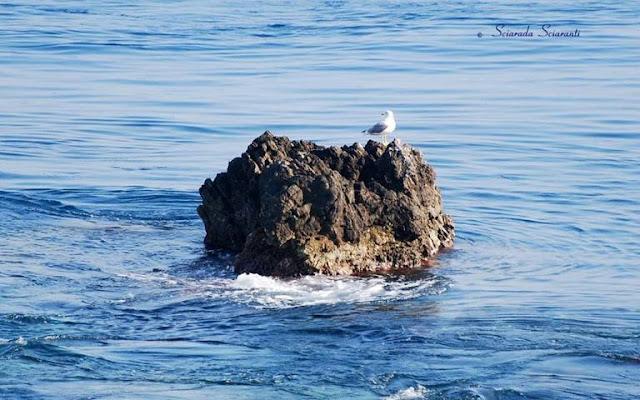 Scoglio in mezzo al mare con le onde che si infrangono su di esso