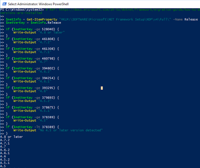 PowerShell Determine NetFramework Version