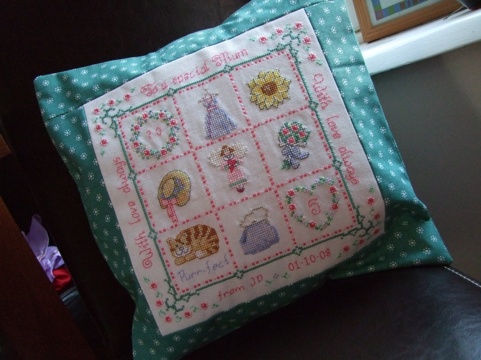 Ginnies Cross Stitch And Dressmaking Finishes Pillow With Embroider Sweet Dream Moms Cushion For Her 70th