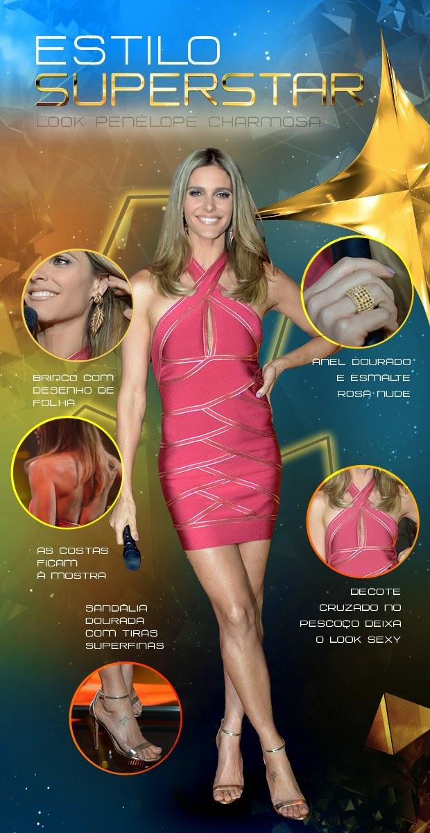 6bf2e04181 Fernanda Lima vem toda de rosa para comandar a noite do Top 6 do SuperStar.  O vestido curto é clean e justíssimo. A simplicidade da peça é quebrada  pelos ...