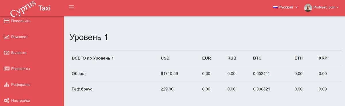 Оборот инвестиций в CyprusTaxi