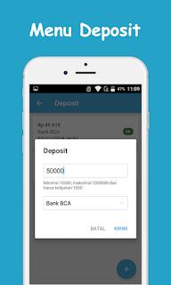 Tampilan Aplikasi Menu Deposit