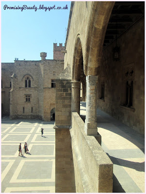 Stunning courtyard of the Palace of the Grand Masters in Rhodes town, Greece. Built by the Knights Hospitaller, medieval history and tourist spot.