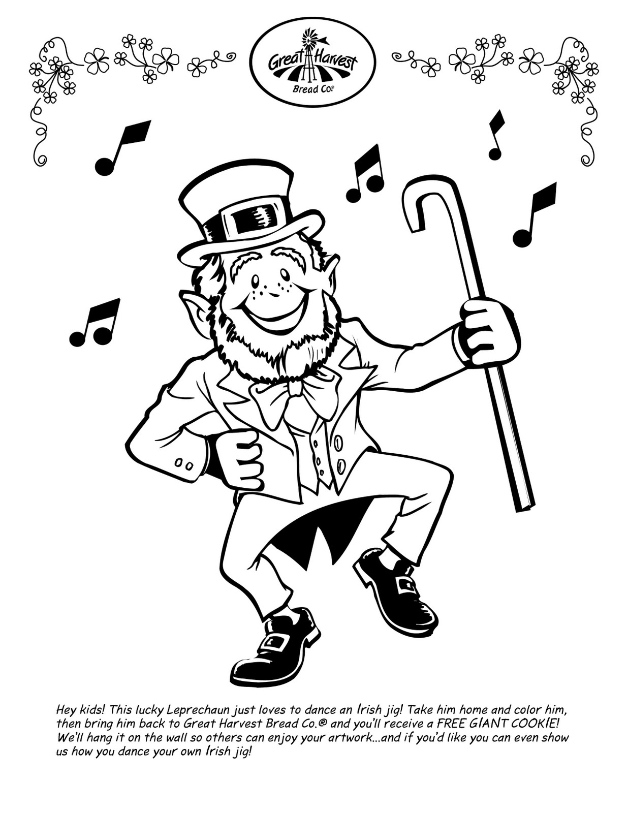 Great Harvest Bread Co St Patrick S Day Kids Coloring Page
