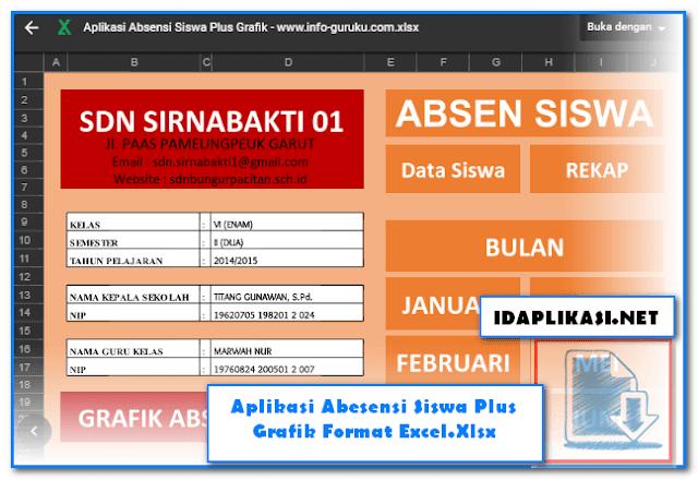 Aplikasi Abesensi Siswa Plus Grafik Format Excel.Xlsx