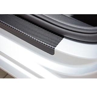 Stiker  Mobil 3D Karbon Carbon Car Door Sill Sticker Step Cover 4 Pcs