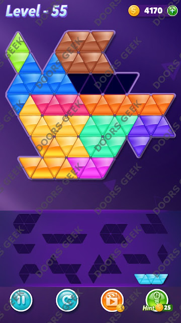 Block! Triangle Puzzle Challenger Level 55 Solution, Cheats, Walkthrough for Android, iPhone, iPad and iPod