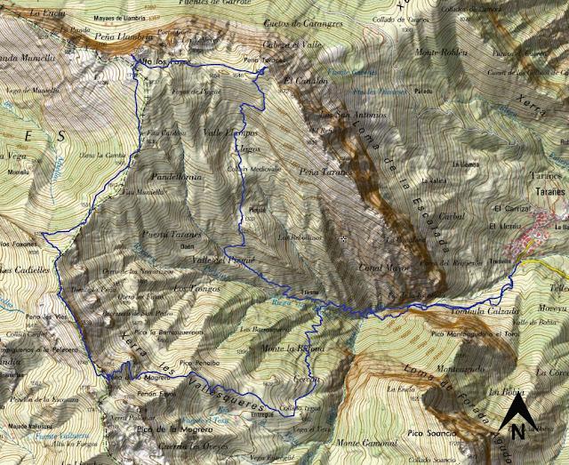Mapa de la ruta a la Peña Taranes, Llambria, Campigüeños y Peñalba.