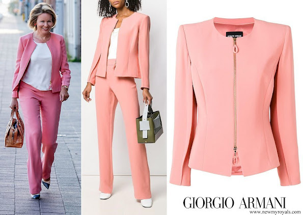 Queen Mathilde wore Giorgio Armani Pink Zip-up Fitted Silk Jacket and a satin trousers