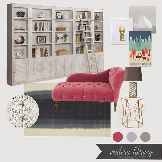 Pink and grey library reading room design