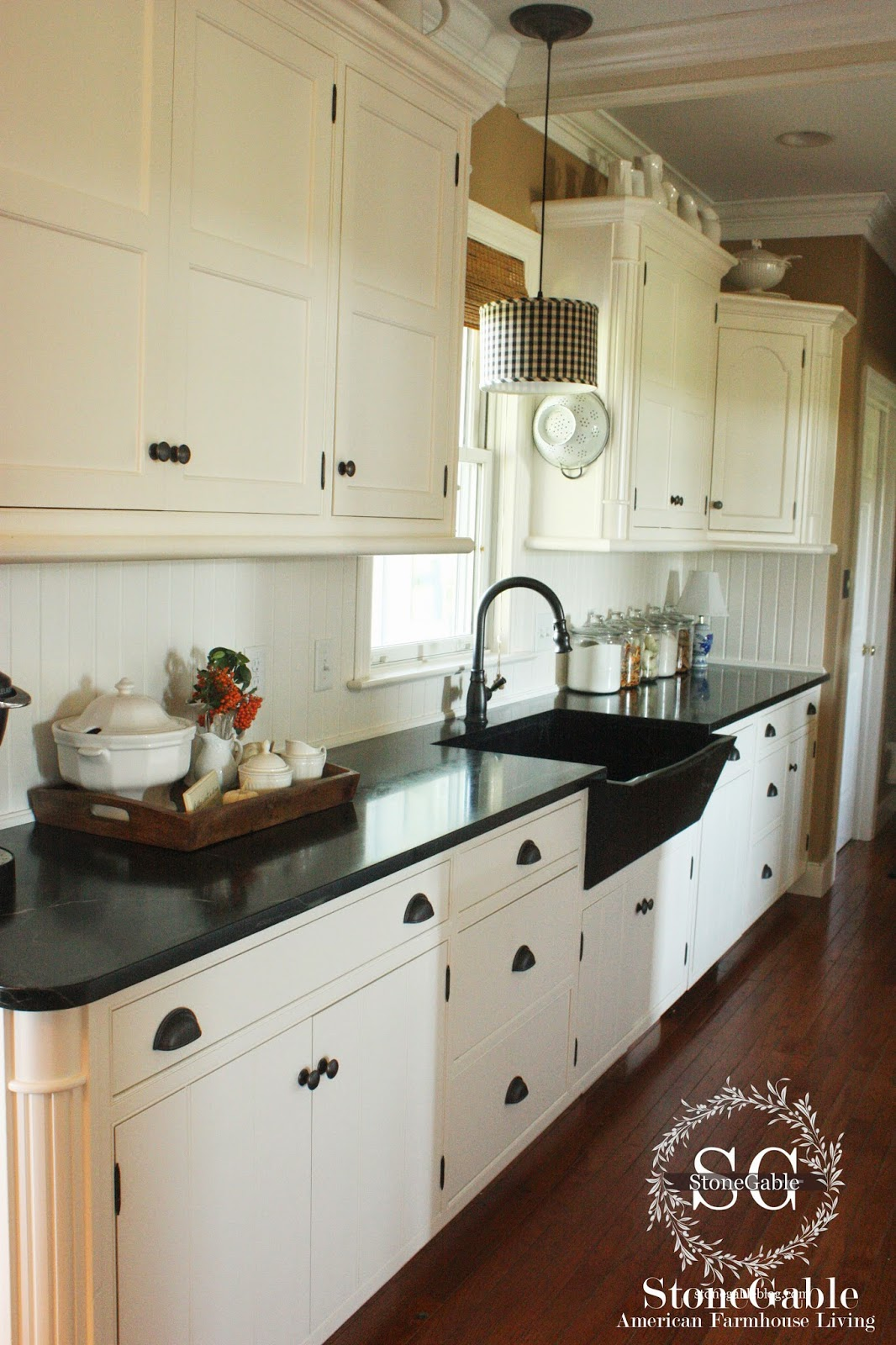 10 ELEMENTS OF A FARMHOUSE KITCHEN - StoneGable on dark cabinets with hardware, dark cabinets with backsplashes, dark granite countertops, dark marble countertops, dark grey countertops, dark cabinets black countertop, dark color laminate countertops, dark floors light cabinets dark countertops, dark cabinets with quartz,