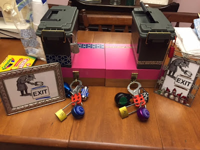 break out boxes for escape rooms including multiple locks, clues, and lock boxes