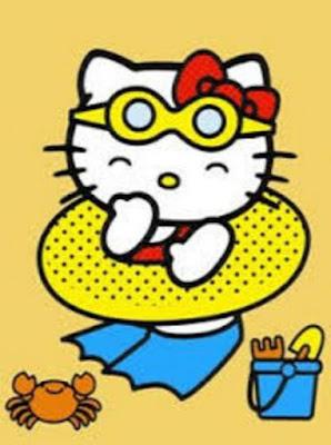 Gambar Hello Kitty Berenang Main di Pantai Terbaru Wallpaper HD Lucu