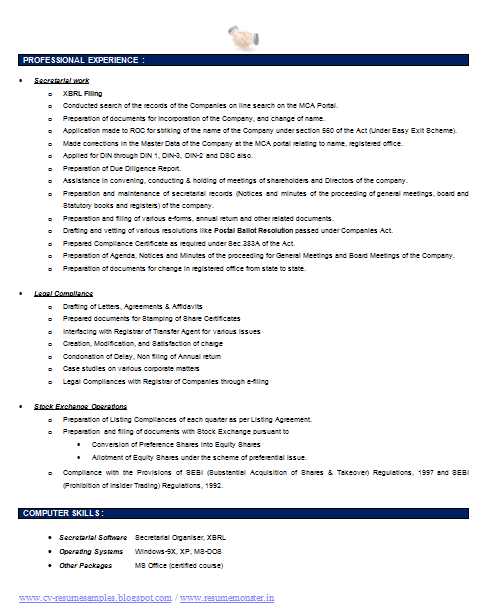 over 10000 cv and resume samples with free download  company secretary resume template