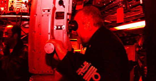 Submarine periscope internal red lights