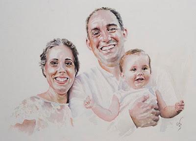 Retrato en acuarela de una pareja riendo y un bebé