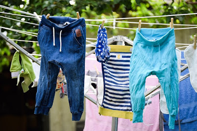 Stretch Jeans Hanging on the Line