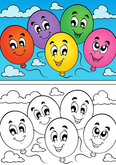 dibujo globos colorear