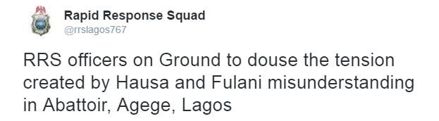 Fulani kill one Hausa during Hausa-Fulani clash in Agege, Lagos