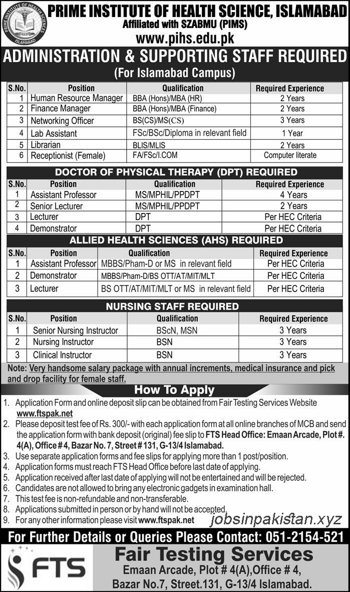 Advertisement for Prime Institute of Health Sciences Jobs 2018