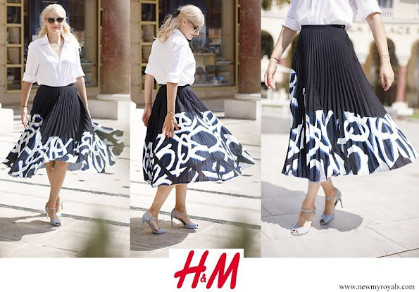 Crown Princess Victoria wore H&M skirt from H&M 2017 Studio collection