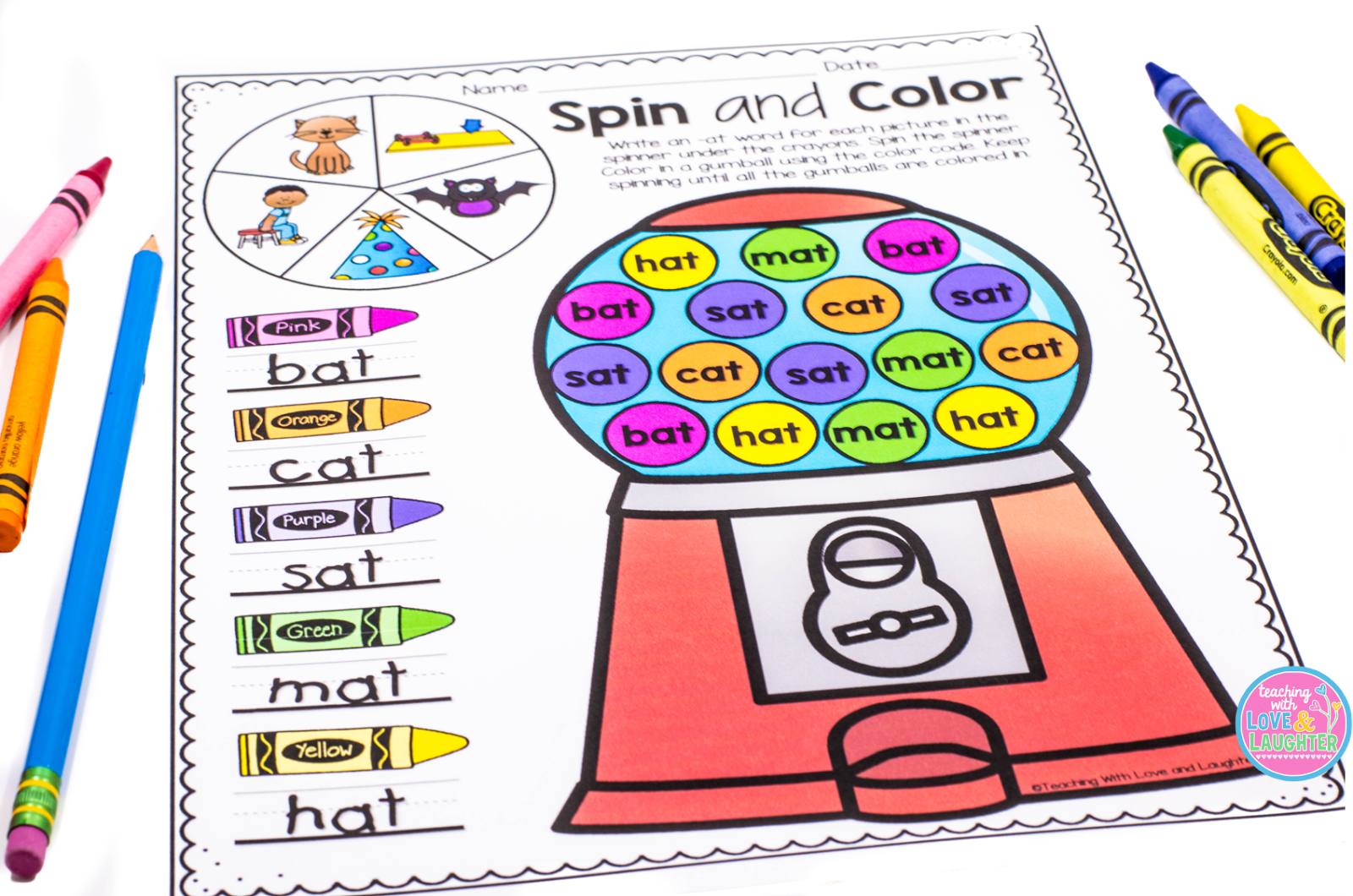 on the lines students write the words for the pictures in the spinner then they use the color code to color in the words that are already written in each - The Color Code Book