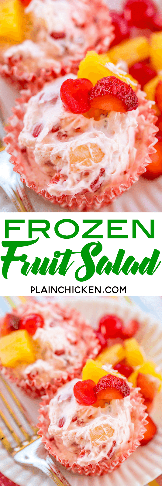 Frozen Fruit Salad - easy and delicious dessert!!! Cream cheese, cool whip, cherries, pineapple, strawberries, coconut and pecans. Make ahead of time and keep frozen until ready to serve. Great for all your summer cookouts!! A great way to beat the heat this summer!! #dessert #fruit #fruitsalad #frozen